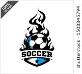 soccer ball flame badge logo... | Shutterstock .eps vector #1503345794