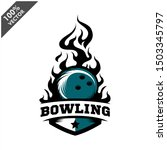 bowling ball flame badge logo... | Shutterstock .eps vector #1503345797