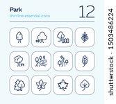 Park Line Icon Set. Leaf  Tree  ...