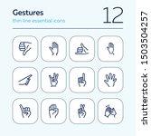 gestures line icon set. hand ... | Shutterstock .eps vector #1503504257