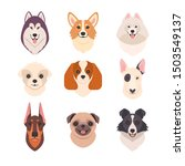 dogs faces collection. vector... | Shutterstock .eps vector #1503549137