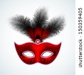 red carnival mask with feathers | Shutterstock .eps vector #150359405