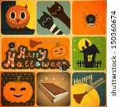 set of retro halloween labels... | Shutterstock .eps vector #150360674
