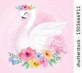 Cute Swan With Flower...