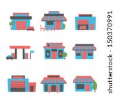 buildings icon set | Shutterstock .eps vector #150370991