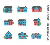 buildings icon set | Shutterstock .eps vector #150371009