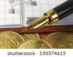 fountain pen  gold money and... | Shutterstock . vector #150374615