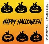 six pumpkin silhouette icons...   Shutterstock .eps vector #1503811187