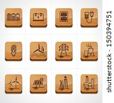 Wood icon set energy, electricity, power  - stock vector
