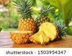Sliced And Half Of Pineapple...
