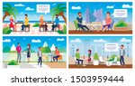 Stock vector city street cafe with rooftop terrace resort restaurant with outdoor seating flat vector banners 1503959444