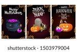 set halloween greeting vertical ... | Shutterstock .eps vector #1503979004