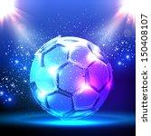 soccer ball on blue spotlight | Shutterstock .eps vector #150408107