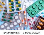 different tablets  pills in... | Shutterstock . vector #1504130624