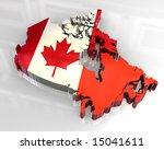 3d flag map of canada | Shutterstock . vector #15041611