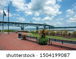 Riverwalk Landing Park with Coleman Bridge and the York River in background. Yorktown, Virginia.