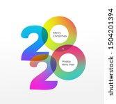 happy new year logo 2020 vector ... | Shutterstock .eps vector #1504201394