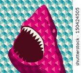 Geometric background with shark. Vector illustration. - stock vector