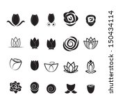 Flower Icons Set   Isolated On...