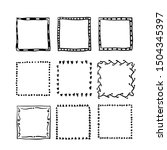 handdrawn square doodle frame... | Shutterstock .eps vector #1504345397