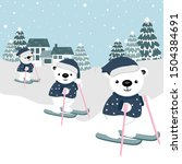 polar bear cartoon skiing on a...   Shutterstock .eps vector #1504384691