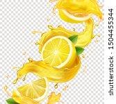 lemons in yellow juice splashes ... | Shutterstock .eps vector #1504455344