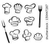 vector set of chef hats.... | Shutterstock .eps vector #150447287