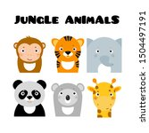 jungle safary animals icons ... | Shutterstock .eps vector #1504497191