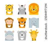 jungle safary animals icons ... | Shutterstock .eps vector #1504497194