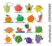 fruit and vegetable doing sport ...   Shutterstock .eps vector #1504505684