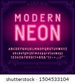 bright neon alphabet letters ... | Shutterstock . vector #1504533104