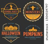 vintage set of happy halloween... | Shutterstock .eps vector #1504539797