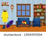 autumn room with sofa  armchair ... | Shutterstock .eps vector #1504595504