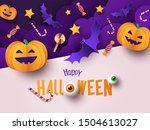 happy halloween greeting banner ... | Shutterstock .eps vector #1504613027