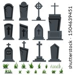 Grey Rip Grave Tombstone Set...