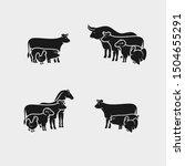 farm animals set. collection... | Shutterstock .eps vector #1504655291