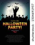 zombie hands rising in dark... | Shutterstock .eps vector #1504691957