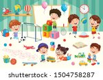 happy children playing with toys | Shutterstock .eps vector #1504758287