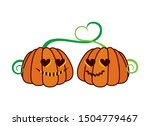 Pumpkin Couple In Love Vector....