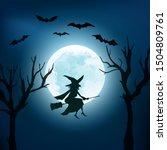 Halloween Background. Witch...