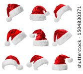 Set Of Red Santa Claus Hats On...