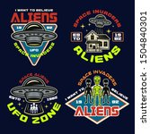 set of vector aliens and ufo... | Shutterstock .eps vector #1504840301