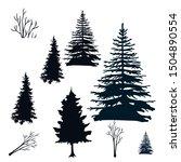 set of silhouette tree  black... | Shutterstock .eps vector #1504890554