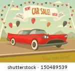 Retro car sale. Vector illustration. - stock vector