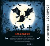 spooky card for halloween. blue ... | Shutterstock .eps vector #150489929