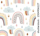 white seamless pattern with... | Shutterstock .eps vector #1504906127