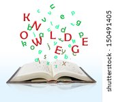 open book with knowledge text... | Shutterstock . vector #150491405