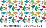 kids pattern with fish and crab | Shutterstock .eps vector #1504917821