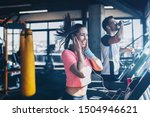 young fit man and woman running ... | Shutterstock . vector #1504946621
