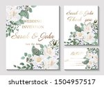 wedding invitation with rose...   Shutterstock .eps vector #1504957517